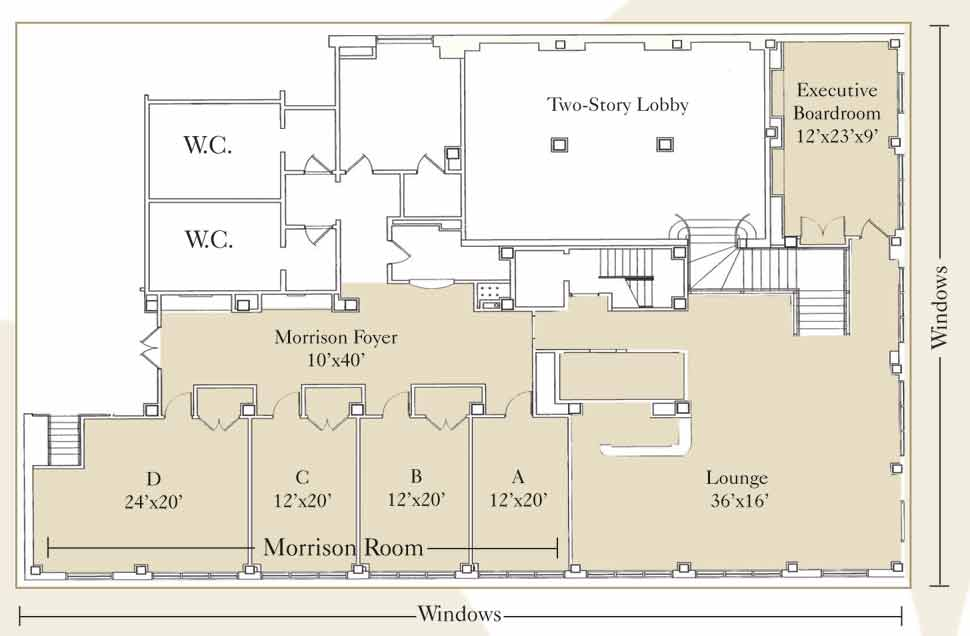 Small luxury midtown east hotel with boardroom new york for Banquet hall floor plans