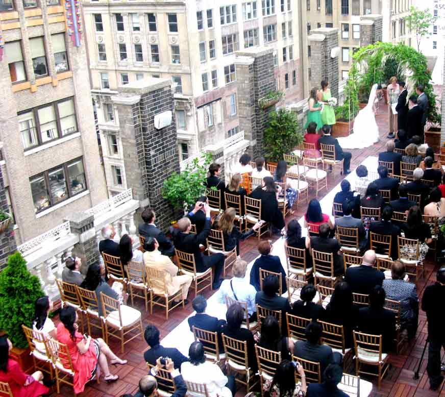 ceremony setup on terrace