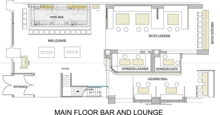 Gramercy flatiron asian restaurant and lounge with private for Nightclub floor plans